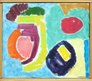 Komposition, 1989, 39 x 34 cm, oliemaleri.